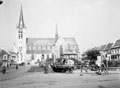 Gheel Church and village square with a 'brewed-up' Jagd-Panther in the centre, 1944