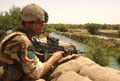 A soldier from 3 Para on guard duty at 'A' Company's base in Sangin, 2006