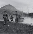 Men of 'D' Company practising assault landings in collapsible boats, March, 1944