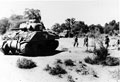 Sherman tank of the 9th Royal Deccan Horse, advancing with infantry, Burma, 1945