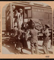 Wounded embarking on a hospital train, Boer War, 1899 (c)