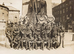 Officers of 3rd Battalion The Royal Irish Regiment with a captured Sinn Fein flag, Easter 1916