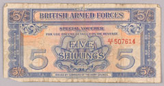 British Armed Forces currency vouchers for 3d and 5/ -, 1948 (c)