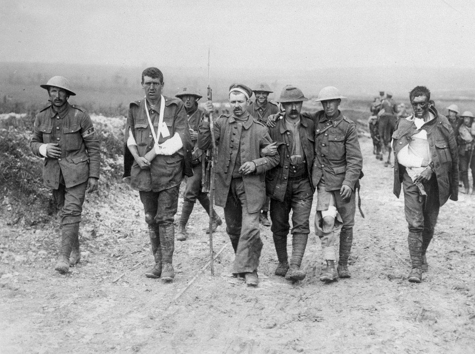 British and German wounded, Bernafay Wood, France, 19 July 1916