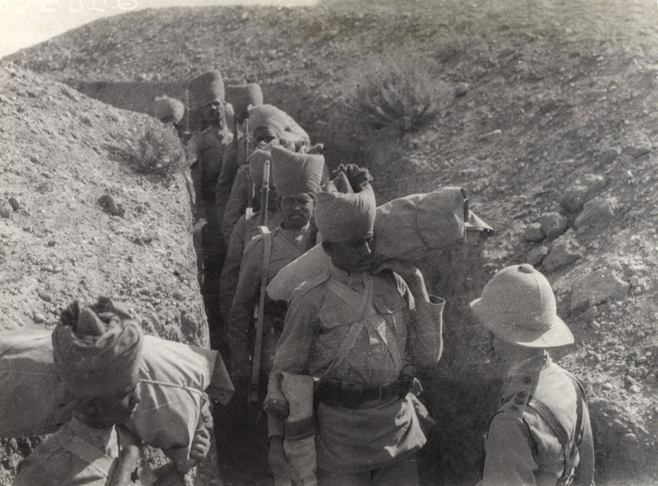 Indian troops passing through a trench on the Mesopotamian Front, 1917