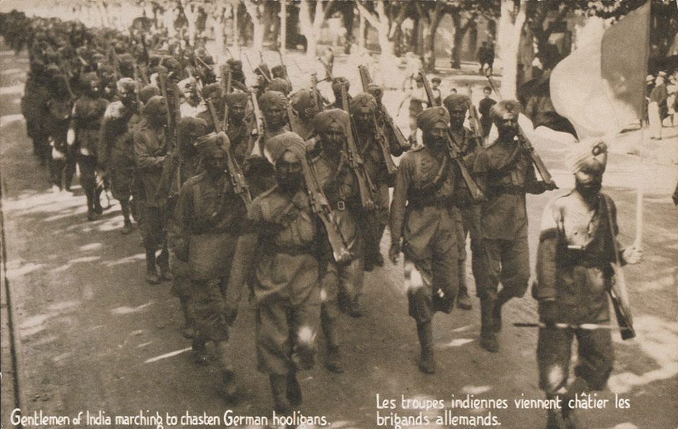 'Gentlemen of India marching to chasten German hooligans', 1914 (c)