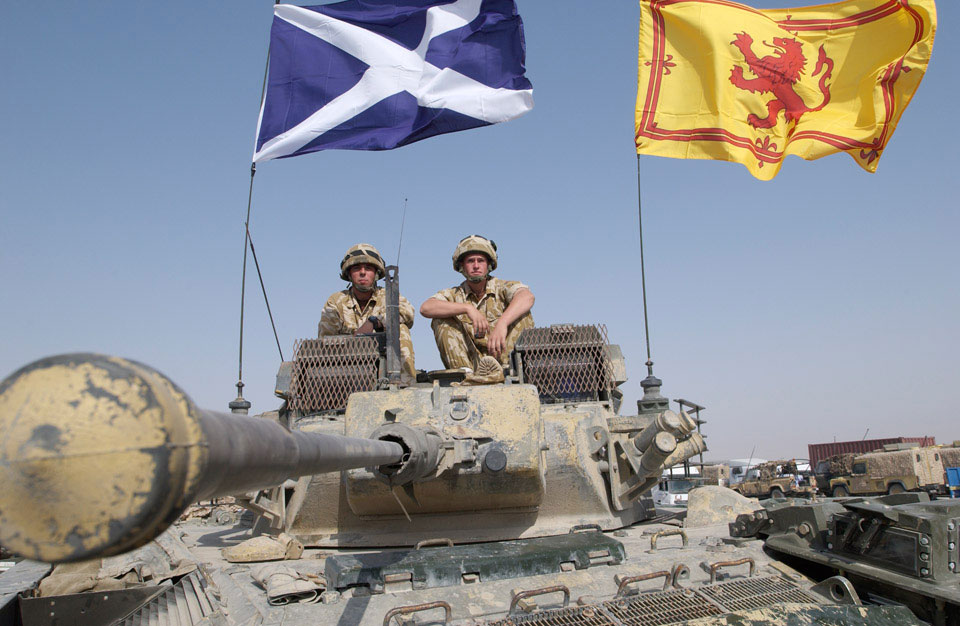 Black Watch Warrior armoured vehicle flying Scottish flags, Iraq, October, 2004