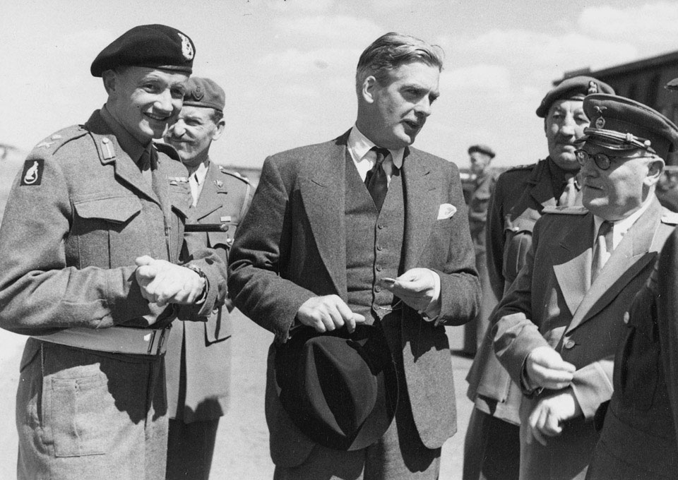 British Foreign Secretary Anthony Eden arrives at Gatow airfield, Berlin, July 1945
