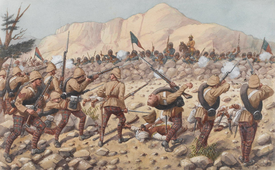 72nd Duke of Albany's Own Highlanders advancing at Peiwar Kotal, 1879