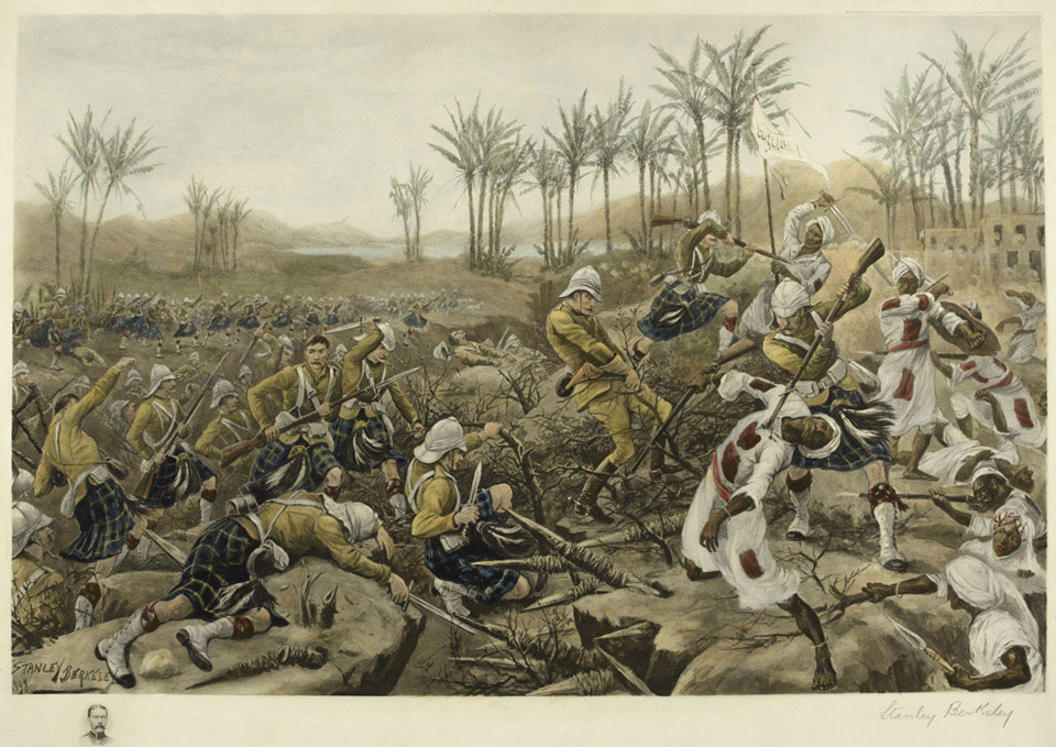 The Cameron Highlanders taking a stockade, Atbara, 8 April 1898
