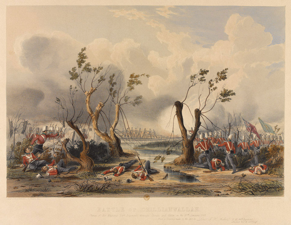 'Battle of Chillianwallah [sic] Charge of H M 24th Regiment through jungle and water 13 January 1849'