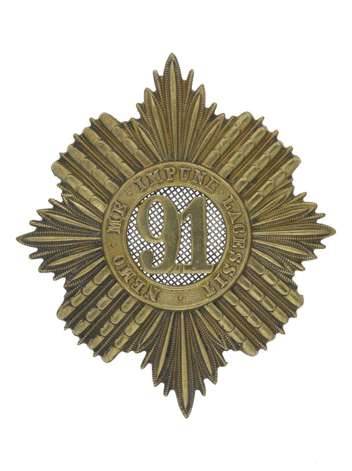 Other ranks' glengarry badge, 91st (Princess Louise's Argyllshire Highlanders) Regiment of Foot, 1874 (c)