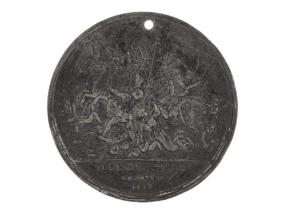 Pewter medal commemorating the Peterloo Massacre, 1819