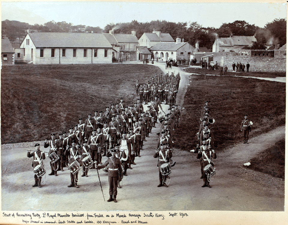 A recruiting party marching through South Kerry, 2nd Battalion The Royal Munster Fusiliers, September 1903