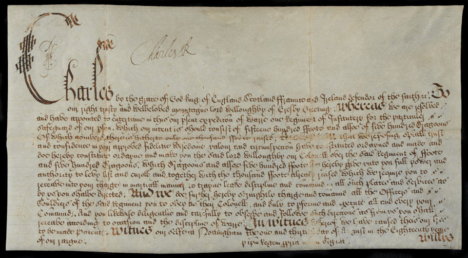 Warrant to raise King Charles I's Lifeguard, 1642