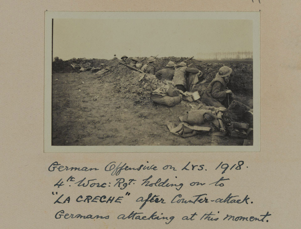 4th Battalion, The Worcestershire Regiment, holding the 'La Creche' position on the Lys, April 1918
