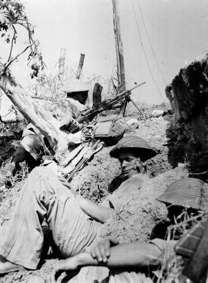 British infantry in action to the north of Primasole Bridge, Sicily, July 1943