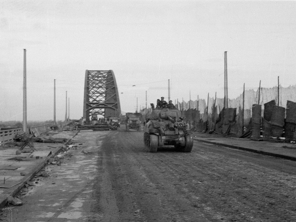 Crossing the bridge at Nijmegen, 1944
