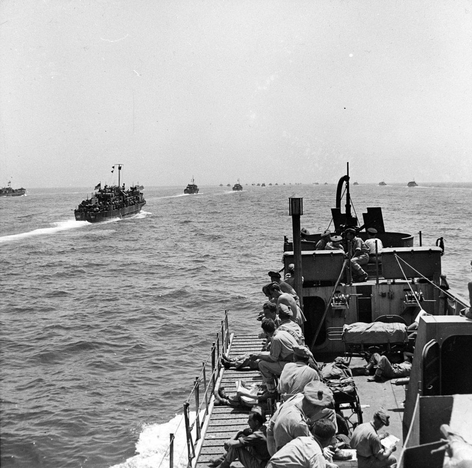 Landing craft of the Sicily invasion armada setting sail, July 1943