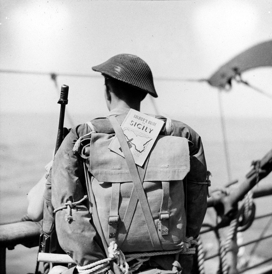 A soldier about to go ashore during the invasion of Sicily, July 1943