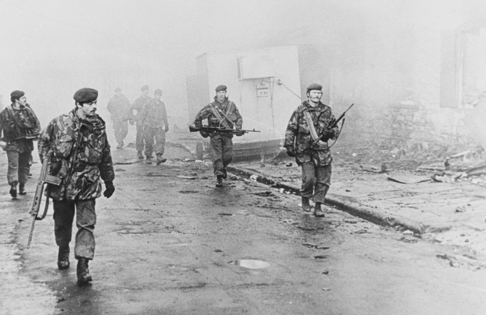 2nd Battalion The Parachute Regiment enter Port Stanley on foot, 1982