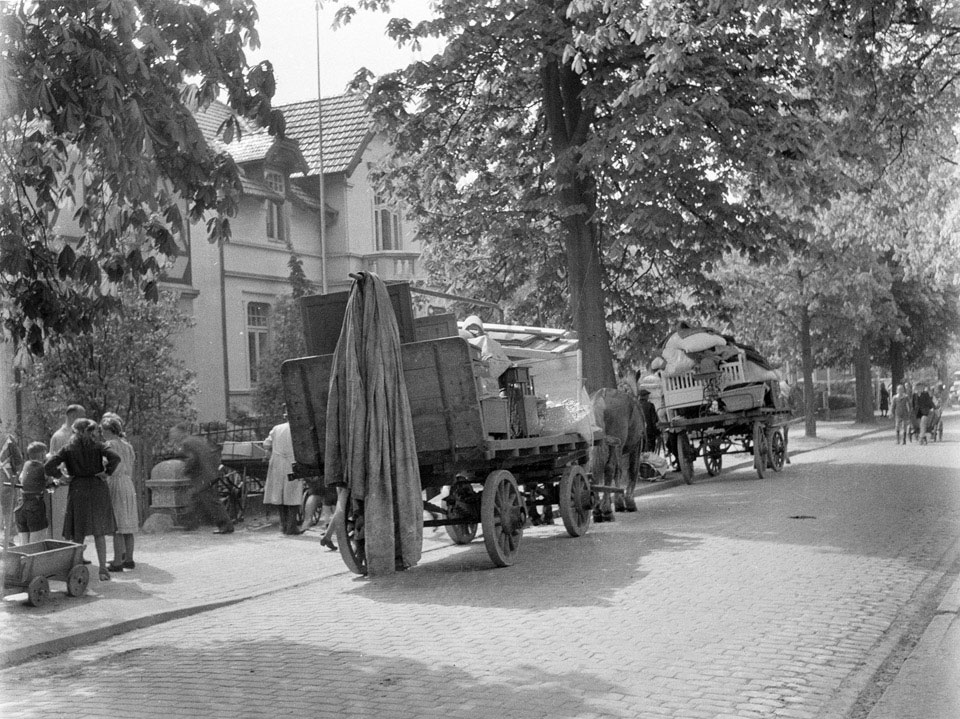 Civilians evacuating their houses in Elmshorn, May 1945