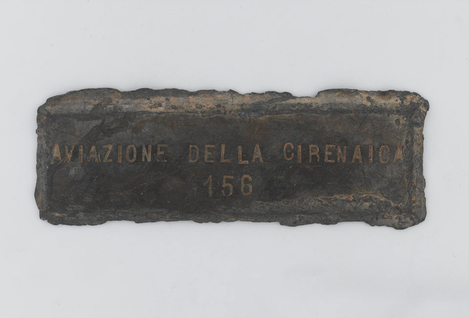 Lead plaque from the wreck of an Italian Savoia Marchetti SM79 aircraft, 1940 (c)