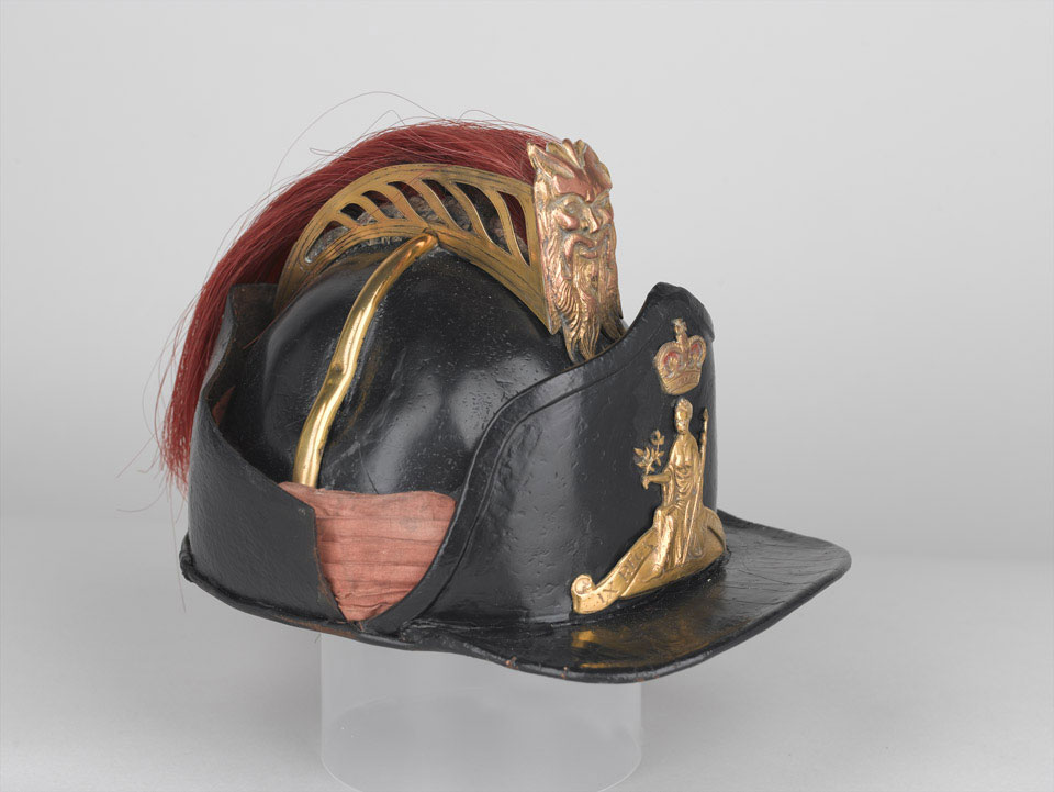 Officer's leather helmet, light company, 9th Regiment of Foot, 1780 (c)
