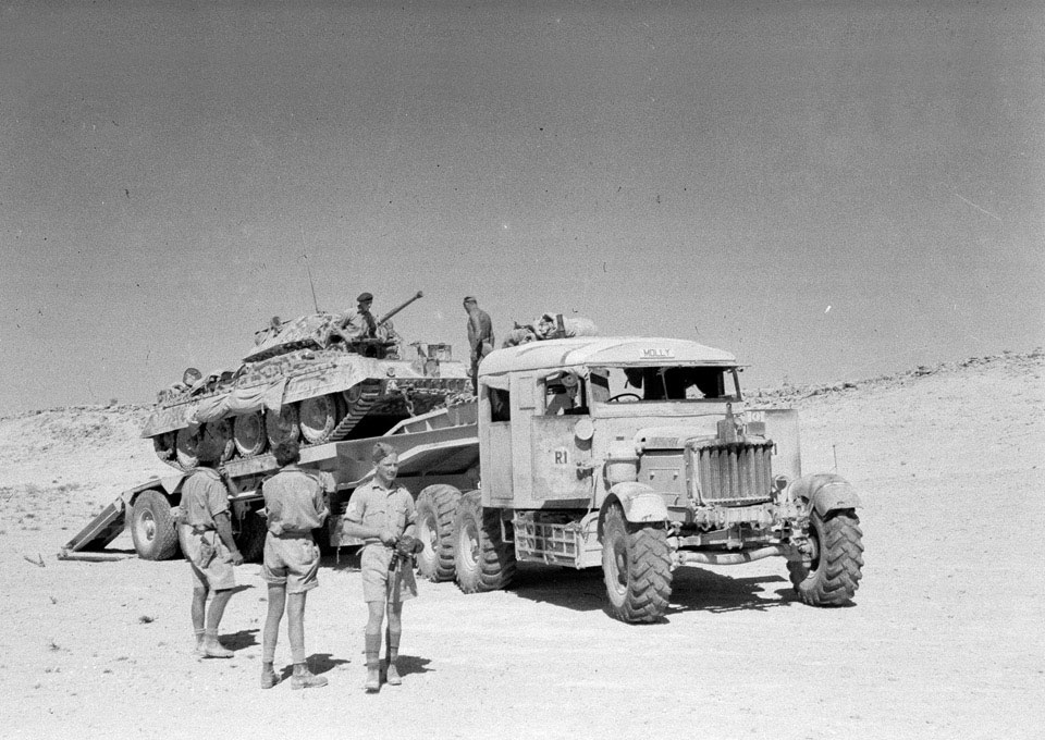 A Scammell transporter carrying a Crusader tank, North Africa, 1943 (c)