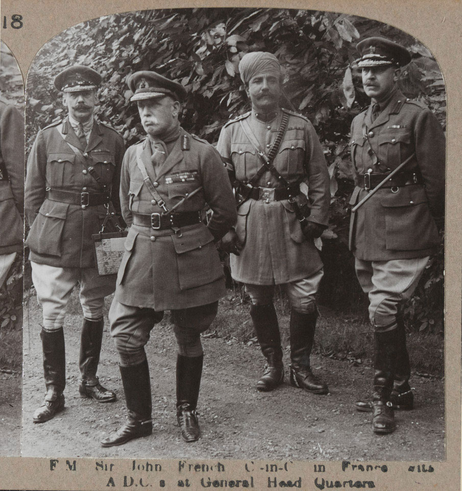 'Field Marshal Sir John French C-in-C in France with ADCs at General Head Quarters', 1915