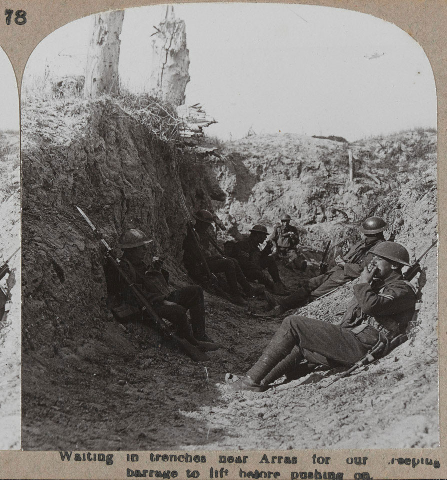 'Waiting in trenches near Arras for our creeping barrage to lift before pushing on', Arras, 1917