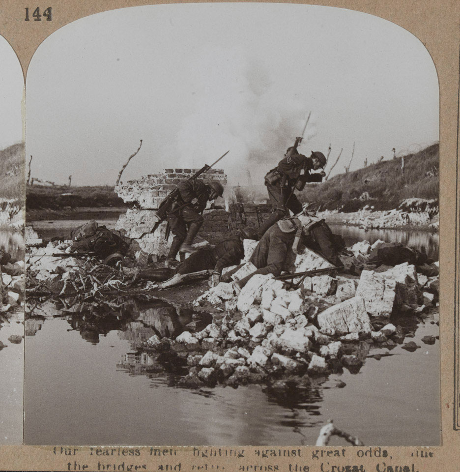 'Our fearless men fighting against great odds, the bridges and across the Crozat Canal', 1918