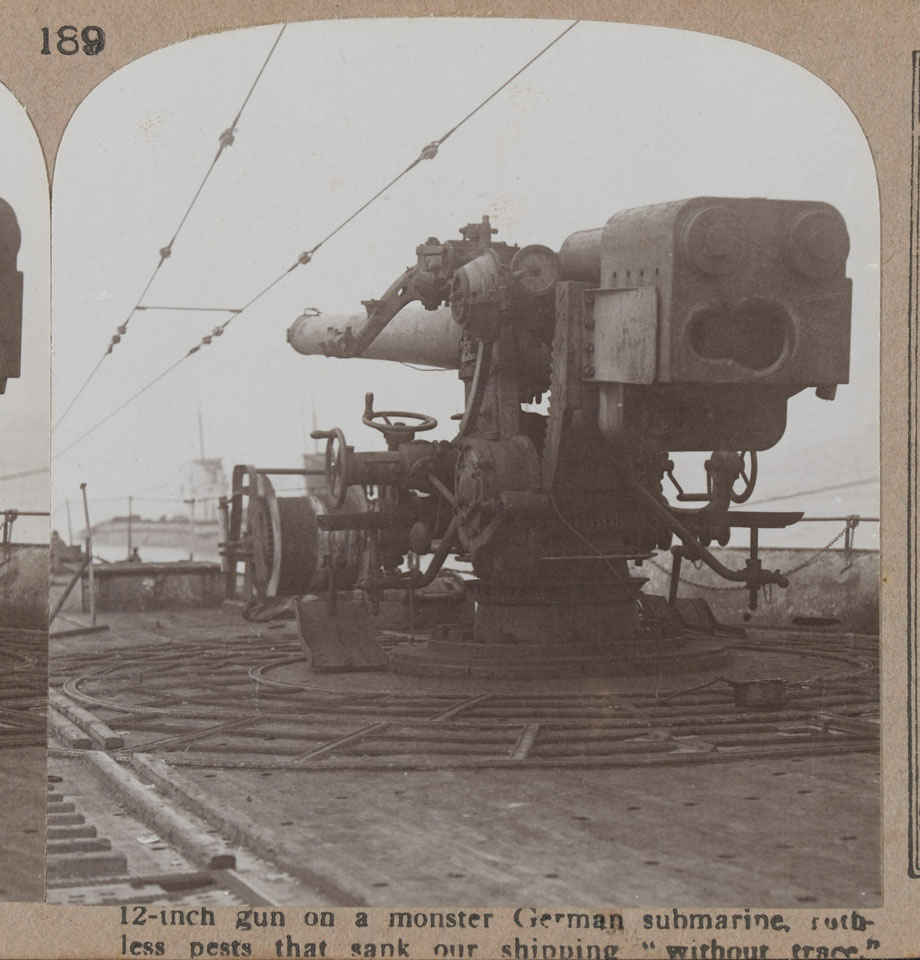 "'12-inch gun on a monster German submarine, ruthless pests that sank our shipping ""without trace""', Harwich, 1918"