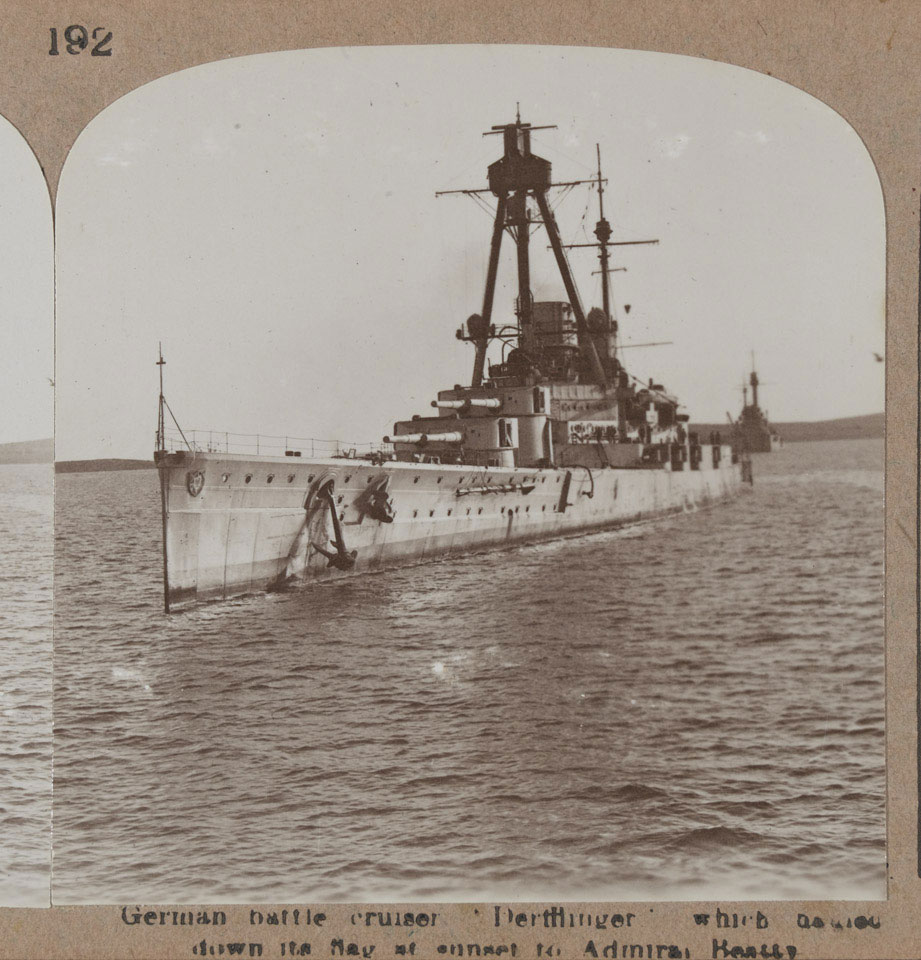'German battle cruiser Derfflinger which hauled down the flag at sunset to Admiral Beatty', 1918