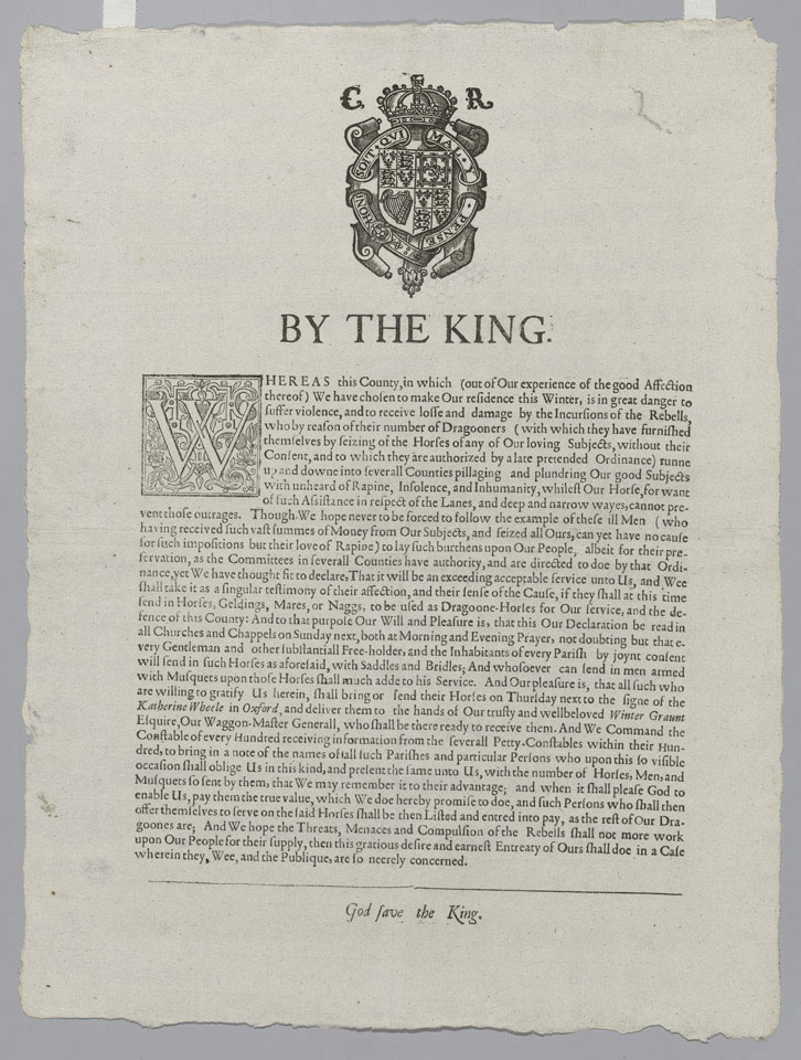 Proclamation issued by Charles I from Oxford, 1642-1643