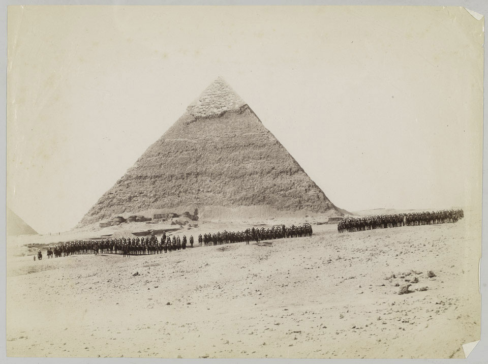 19th Hussars formed up in front of a pyramid at Giza, Egypt, 1882 (c)