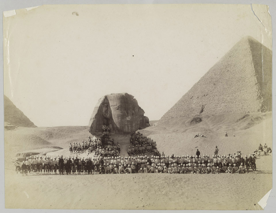 42nd Highlanders in front of the Sphinx at Giza, Egypt, 1882 (c)
