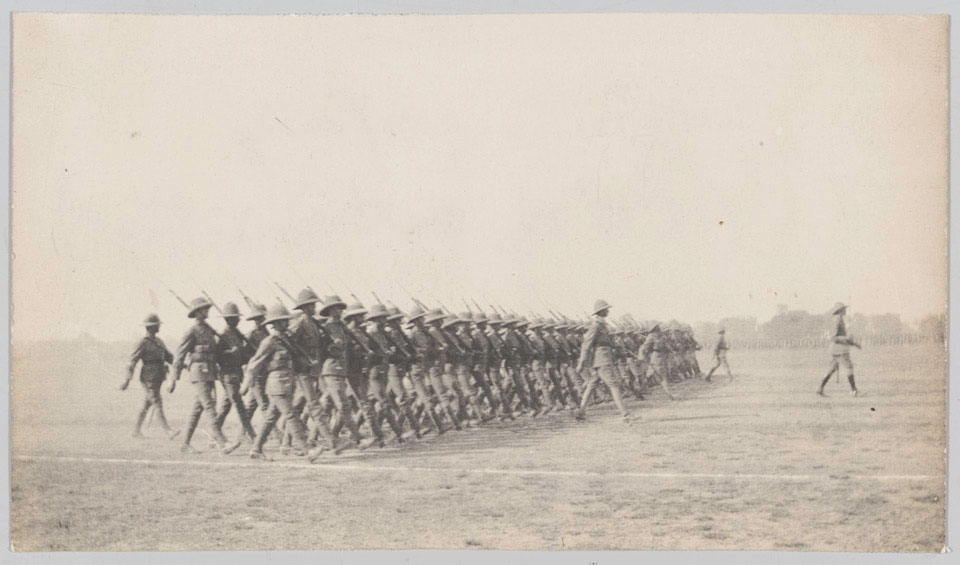 Members of 2/4th Battalion The Duke of Edinburgh's (Wiltshire Regiment) at the Armistice Parade in India, 1918
