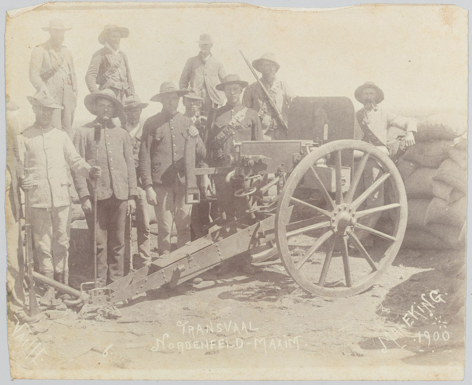 Nordenfelt-Maxim machine gun manned by Boers at Mafeking, 1900