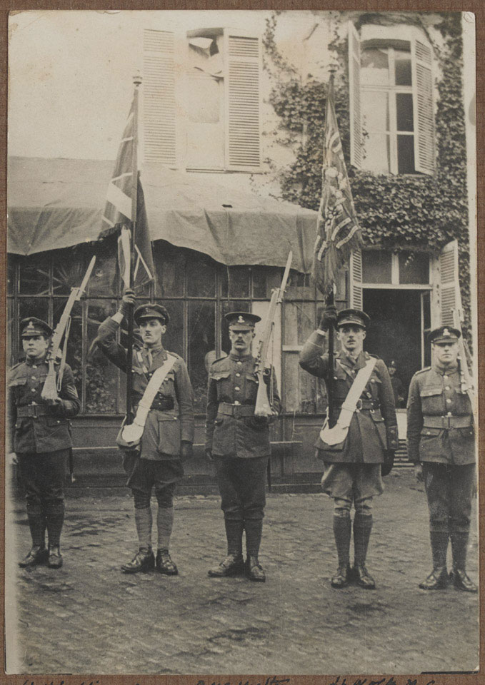 Colour party, 2nd Battalion, Royal Dublin Fusiliers, at Le Quesnoy after the armistice, World War One, 1918