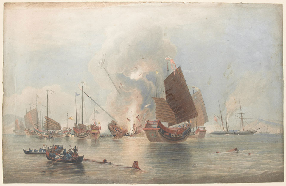 'The East India Company's iron steamship Nemesis, Lieutenant W H Hall RN, Commander, with boats of Sulphur, Calliope, Larne and Starling destroying Chinese war junks, 1841'