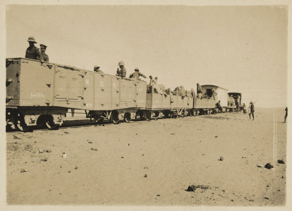 British Soldiers and Senussi refugees on the desert railway, 1916