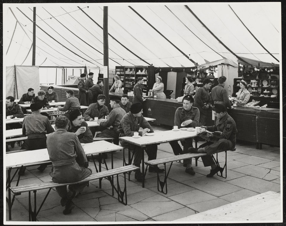 A canteen tent at Weybourne Summer Camp, April 1954