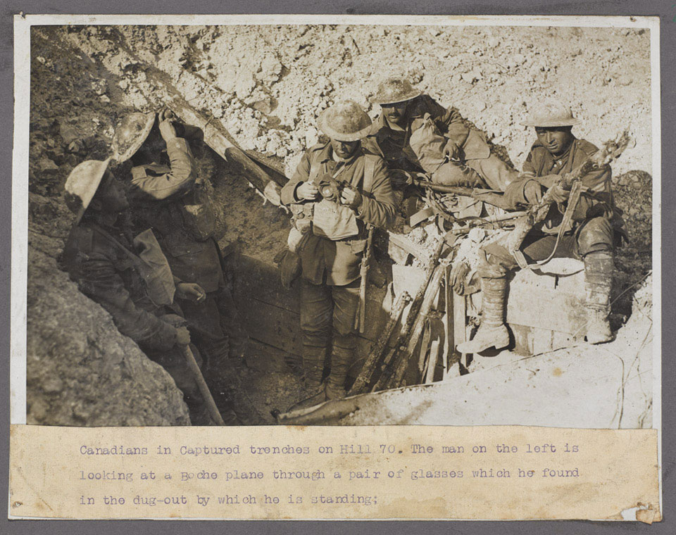 Canadians in a captured trench at Hill 70, 1917