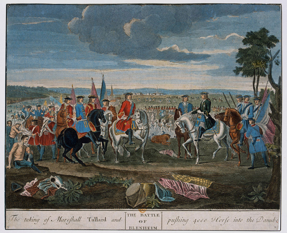 The Battle of Blenheim, 13 Aug 1704. 'The taking of Mareshall Tallard and pushing 4000 Horses into the Danube'