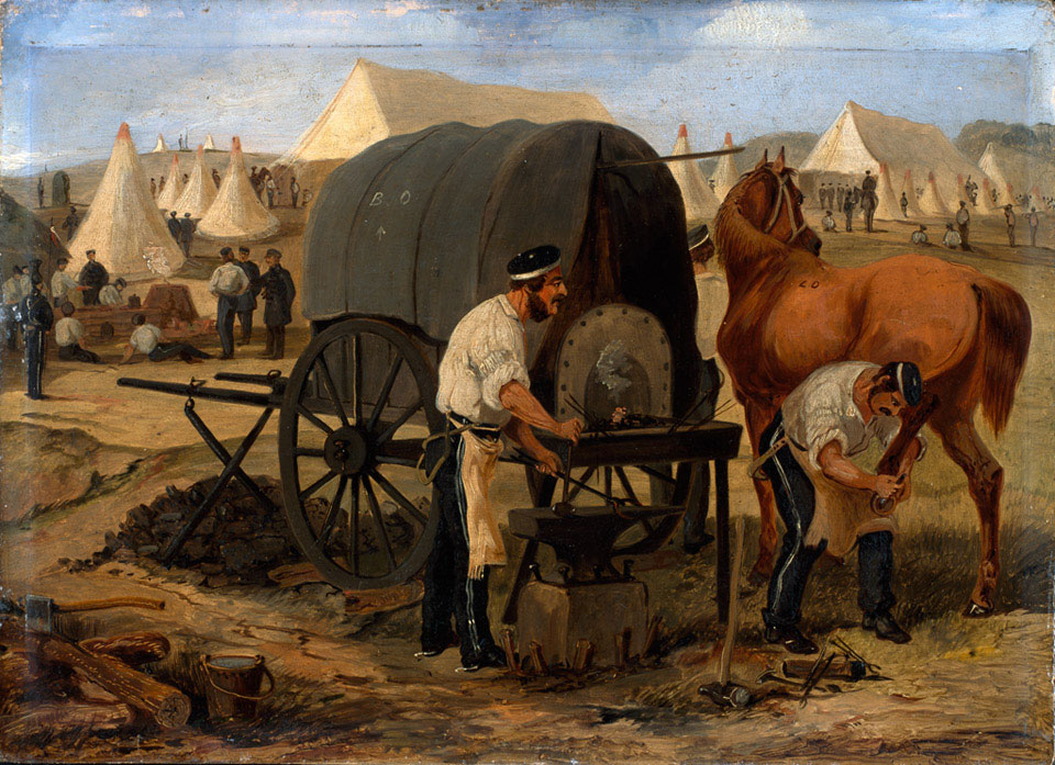 Farriers of the 17th Regiment of (Light) Dragoons (Lancers), Chobham Camp, 1853