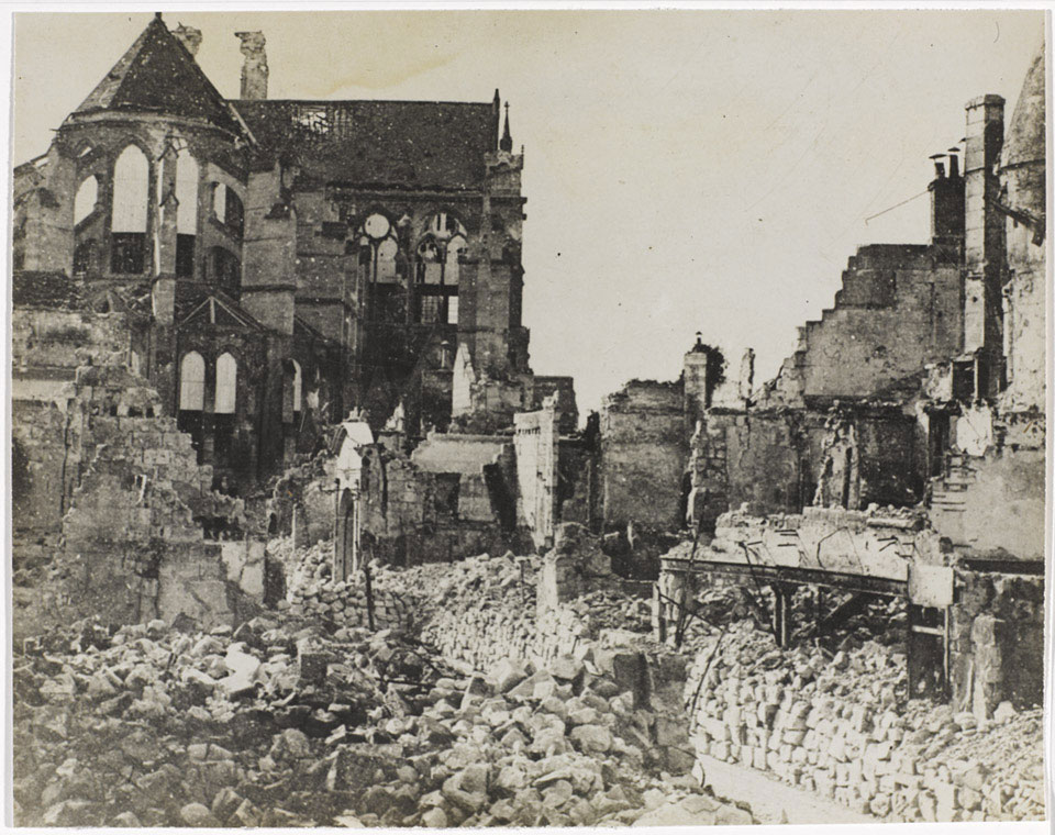 'An aspect of Soissons with the martyred Cathedral in the background', 9 October 1918