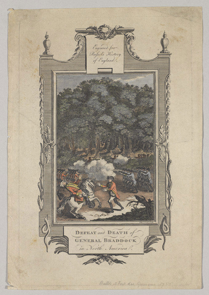 The defeat and death of General Braddock in North America, 1755