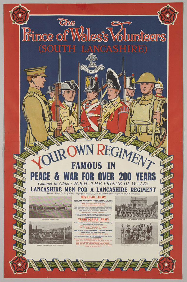 Recruiting poster for the South Lancashire Regiment