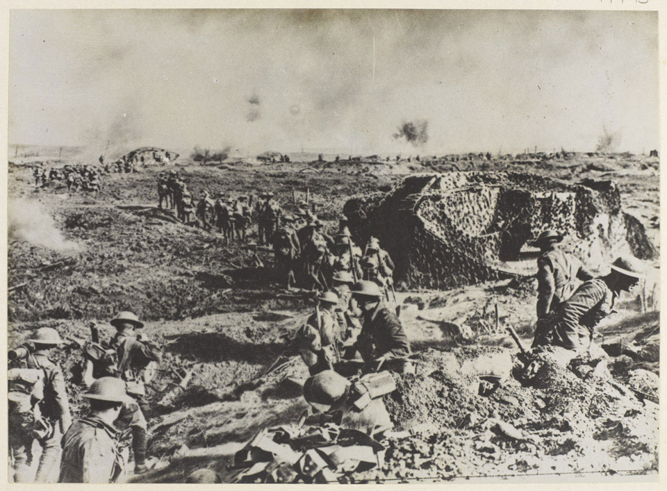 Camouflaged tanks and infantry moving up to the attack, 26 September 1917